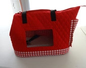 Large Red Quilted Dog Carrier