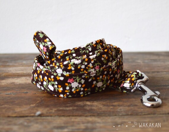 Leash for dog model Spring. Handmade with 100% cotton fabric and webbing. Two width available. Wakakan