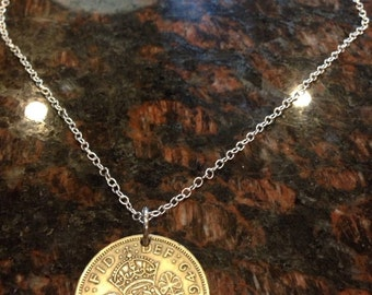 British 2 Shillings coin necklace