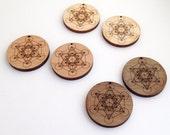 2 Metatron's Cube Wood Beads : Cherry, Maple or Walnut