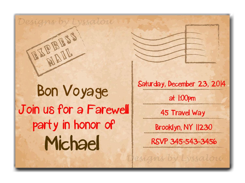 Travel / Farewell Party Invitation Bon Voyage Going Away