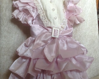 Vintage Pink Lavender Antique Style Doll Dress