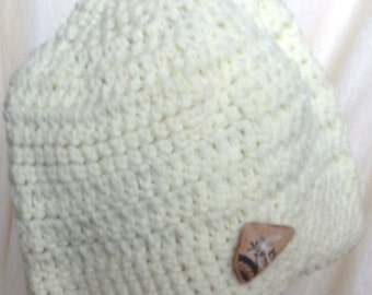 Handmade Cream Colored Crocheted Hat