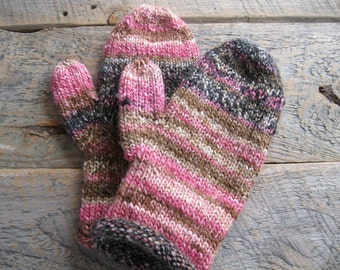 Pink and brown womens hand knit mittens from machine washable acrylic yarn - warm mittens - pink mittens knitted - handmade mittens - winter