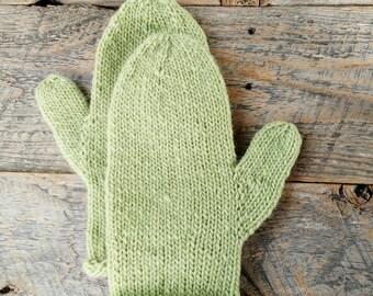Womens green winter mittens - knitted wool mittens - hand knit - pistachio green mittens - warm wool mittens - winter mittens - wool knitted