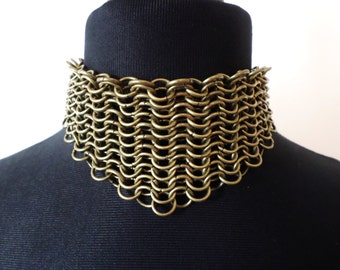 Victorian Steampunk Choker - Solid Bronze Chainmaille Collar Necklace - Chainmail Neck Armour