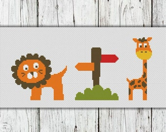 Cute Animals Counted Cross Stitch Pattern, Zoo Collection -PDF, Instant Download