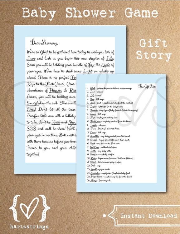 baby shower game gift story baby blue theme by hartzstrings