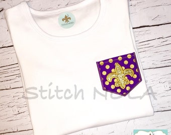 Purple and Gold Pocket Tee with Glitter Fleur de lis Shirt or Bodysuit