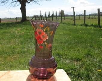 Large Doyen Art Deco Purple Amethyst Hooped Vase Painted Flowers Handpainted