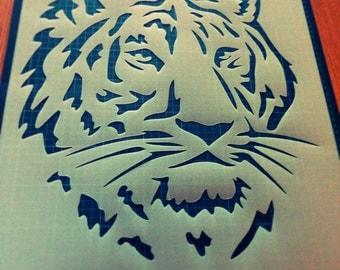 Tiger Head reusable STENCIL for home wall interior decor / reusable stencil