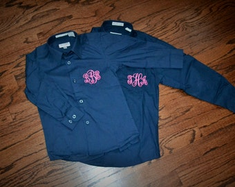 KIDS Monogrammed Oxford Button Down Shirt - Great for Flower girls, ringbearer, junior bridesmaids! Lots of colors!