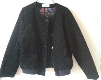 Black velvet and quilt Jacket