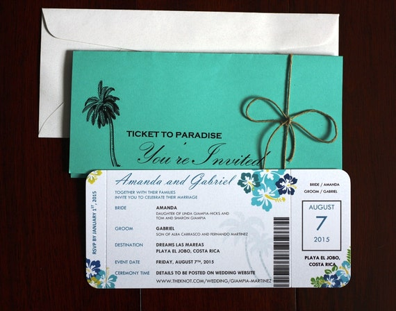 Wedding Invitation Tickets: Destination Wedding / Airline Ticket Invitation