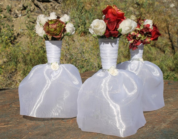 6 bridal dresses flower vase centerpieces great by for Wedding dress vase centerpiece