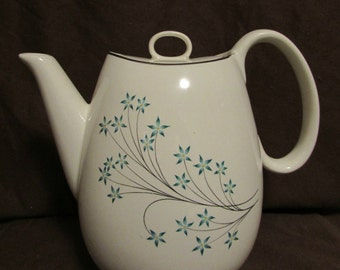 Teapot, White With Spray of Blue Flowers, ceramic, 1960's