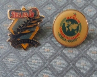 Seattle Seafair 1990 Tack Back Pin and Seattle 1990 Goodwill Games Pin