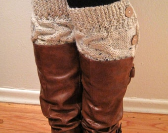 Chunky cable knitted Camel /Beige ankle boots, boot cuffs,leg warmers, Boot toppers with coconut shell buttons-Christmas gift