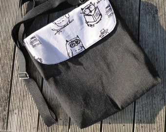 Hand printed bag. Black denim bag, Messenger bag, Crossbody bag . Shoulder bag. Owl print.