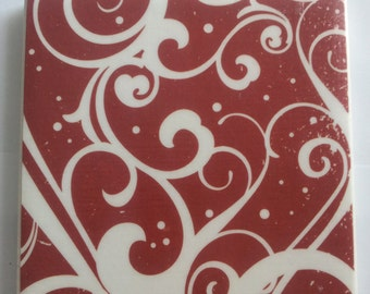 Red and White Scroll Ceramic Tile Coasters