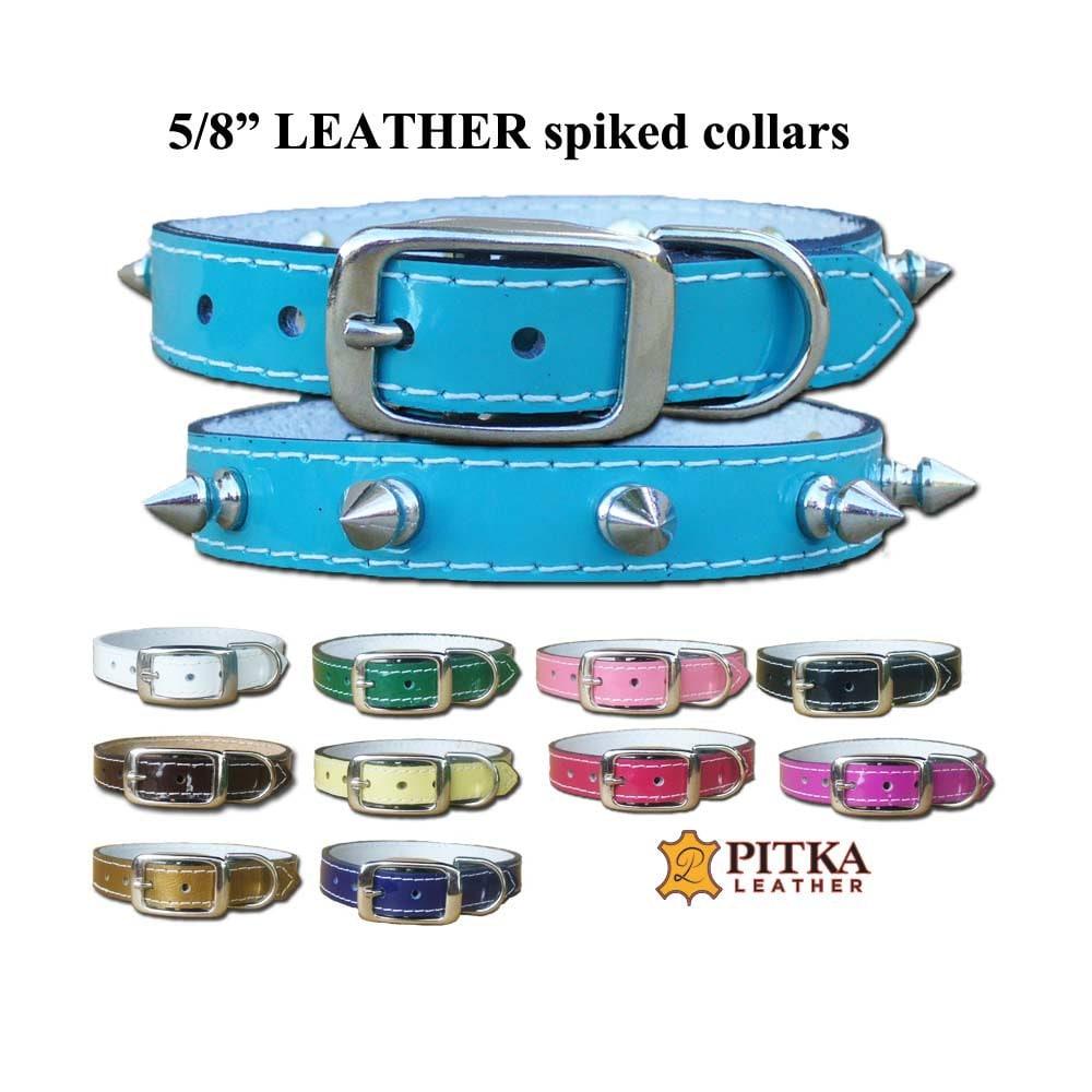 Designer pet collar spiked leather dog collar small dog - Designer small dog collars ...