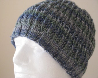 Mens Knitted Toque Pattern : Instant Download Knit Hat Knitting Pattern for Mens Hat