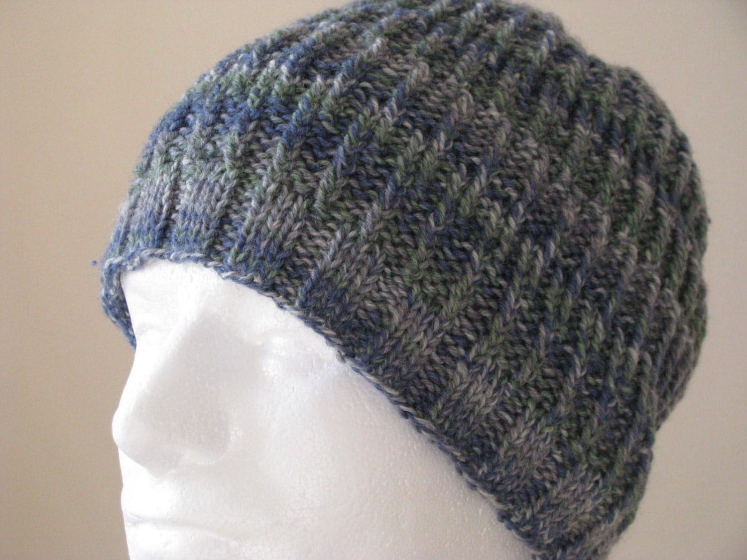 Mens Knitted Hat Patterns : Instant Download Mens Knit Hat Sock Yarn Hat Knitting pattern