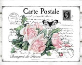 Shabby Chic Pink Rose Carte Postale Large Instant Digital Download Printable Vintage Post Card French Writing Iron on Fabric Transfer Image