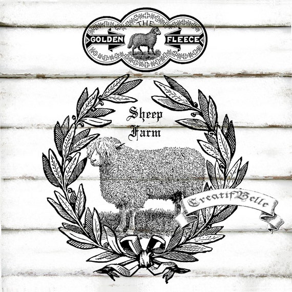 Vintage Sheep Farm Wreath Black and White A4 Instant Digital Download Printable Graphic Transfer Image Collage Country Farm Animal