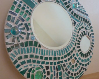 Hand crafted mosaic decorative mirror in turquoise and white