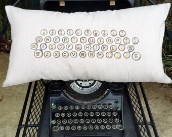 Linen Pillow Cover Antique Typewriter Keys, Lumbar