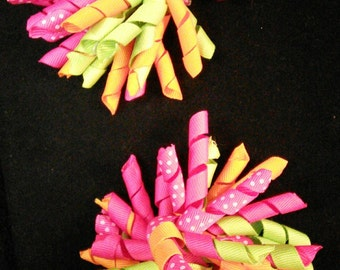 Think Spring Curled Ribbon Barrettes set of 2