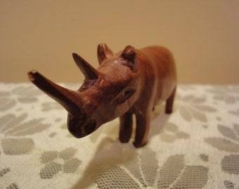 Teak Solid Wood Rhino/Collectible Sculpture/Figurines/Wood Figurines/Animal Figurines/African Figurines