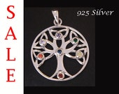 Gorgeous Sterling Silver Tree of Life Pendant with 7 Swarovski Crystals, Lovely Tree of Life Necklace and Tree of Life Jewelry Piece TOLP035