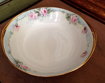 Rosenthal Selb Bavaria Serving Bowl – pink Flowers, pale blue edging and trimmed in gold