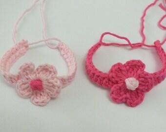 Twin Baby  ID bracelets /anklets,Baby hospital id anklets/bracelets - Crochet Adjustable hospital id pink flower 100% organic cotton yarn