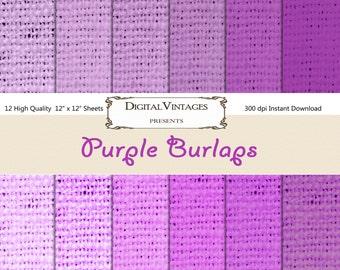 Purple Burlap, Digital Background Paper, Burlap Papers, burlap digital paper, background paper, grungy Paper, Textured Paper,