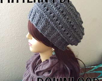 Beret Knitting PATTERN, Slouchy hat, PDF DOWNLOAD