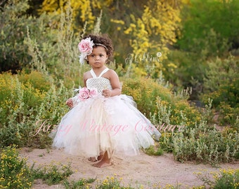 Baby tutu dress, pageant dress, flower girl dress, take home, baby shower gift, crochet top, wedding, feathers, tulle