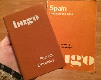 Vintage 1970's Spanish dictionary and phrase book • Sold as a set • Published by Hugo's Language Books Ltd.
