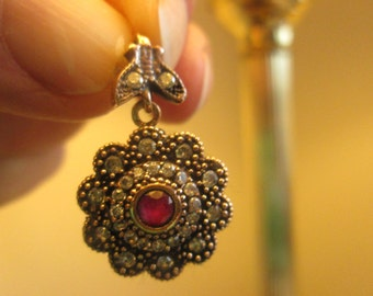 Vintage Art Deco 1.00ctw Ruby & White Sapphire Sterling Silver/Rose Gold Pendant Wt. 5.3 Grams, Hallmarked 925