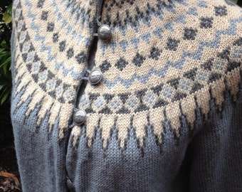 Fair Isle Norwegian wool sweater by WILLIAM SCHMIDT of Oslo-S