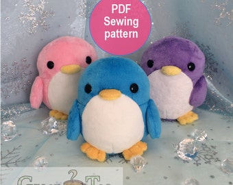 Penguin plushie pattern - PDF Cute plushie sewing pattern PDF