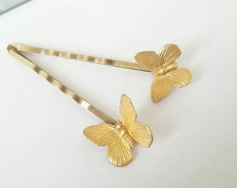 Butterfly hair pins, gold bobby pins, woodland hair pins, butterfly hair accessories, butterfly bobby pins, woodland wedding