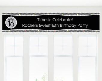 Adult 16th Birthday Party Banner - Birthday Party Decorations