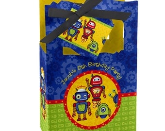 12 Robots Favor Boxes - Custom Baby Shower and Birthday Party Supplies