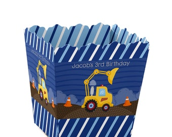 Construction Truck Custom Small Candy Boxes - Personalized Baby Shower or Birthday Party Supplies - Set of 12