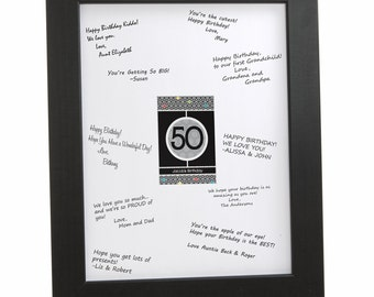 50th Birthday Party Signature Mat for a Birthday Party Guest Book