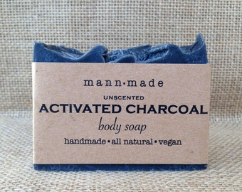 Activated Charcoal Soap, Unscented, Vegan, All Natural, Great for Detox and Acne