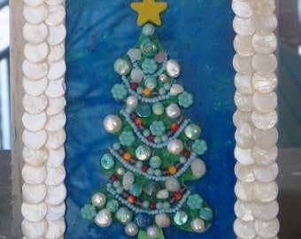 5 x 7 mother of pearl framed Christmas tree- one of a kind